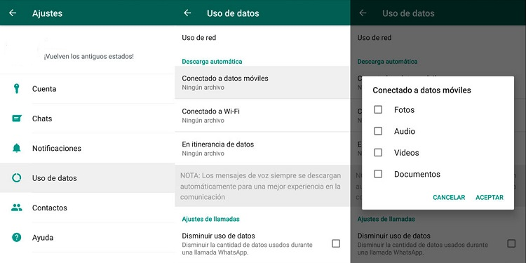 optimizar uso de datos whatsapp