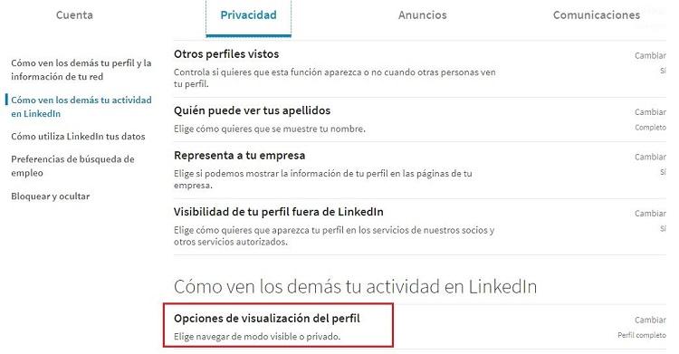 opciones de privacidad de linkedin