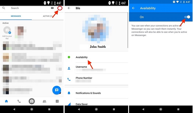 deactivate active state on android facebook messenger